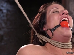 Busty Milf suffers hogtie suspension