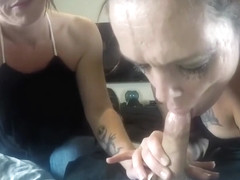 Double blowjob from 2 ex-cons w/ a swallow