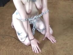 Headwrap 9 - Diaper slave crawls around and plays in its cage