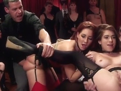 Swingers bdsm party with hot babes fuck
