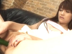 Megumi Morita has wet twat fucked with vegetables and sex toys