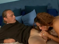 Charming redhead Miss Raquel invited interior designer and seduced him