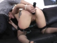 Anal training of very hot chick Alice Bellis