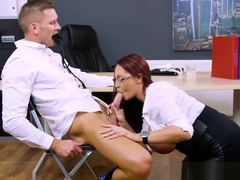 Busty Boss Emma Butt Blows Her Hung Assistant