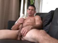 Hunky soldier stroking his big shaft on couch