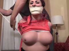 Big-mouthed barmaid robbed, left hogtied, exposed, and gagged in her tights