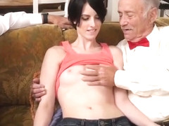 Old man creampie gangbang Frankie heads down the Hersey highway