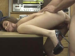Desperate beautiful Naomi Alice fucks from behind in the office