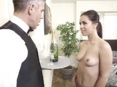 Alina Lopez is riding her lover's cock and trying not to moan too loud, while cumming