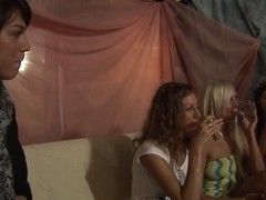Allysin Moore & Cofi & Lucille & Marta & Stacey Silver in hot college sex scene with a bunch of sl.