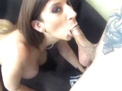 Attractive Sara Jay is sucking cock
