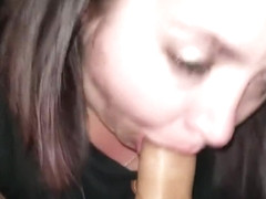 Sexy BBW Makeup Smear Car Blowjob Facial