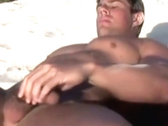 Zeb jerking off at the beach