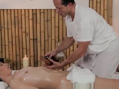 Massage Rooms Petite woman has tits oiled