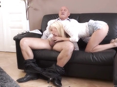 DADDY4K. Sweet lassie with seductive shapes in hands of mature man