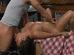 Adriana Luna gets sex on table in bar