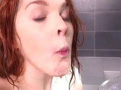 Spanish cutie Amarna Miller swims in her own piss