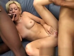 Adorable blonde with perky boobs gets nailed by two hung black studs