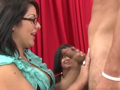 Cfnm hottie tugs during a cumshot contest