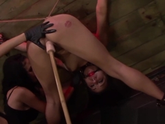 Bound Isa Mendez dominated with femdom toys threeway