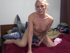 Brittany Bardot masturbating her pussy on inflatable toy and got big orgasm at home