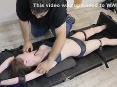 French Tickling - Ultra Ticklish Escort Girl Loses Her Mind In The Stocks
