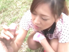 slutty japanese girl sucks cock and swallows on the golf course
