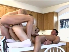 Adorable blonde with pigtails enjoys a great DP sandwich