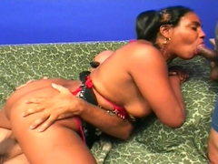 Big-Tittied Indian Wife Takes Two At Once