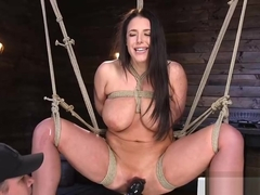 Hugetits milf restrained and dildo stuffed by master