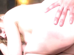 Blonde beauty submits to big dick master