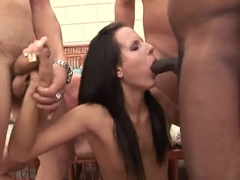 Gang bang of the dark haired girl Cora Wild