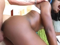 Ebony beautiful gamer Ana Foxxx gets fucked by white dick