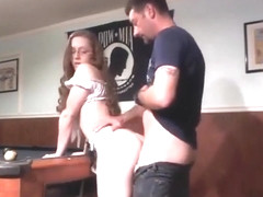 Nerdy Brunette Gets Slammed Hard On The Pool Table