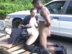 Black stud fucks two white police officers in public