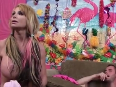Nice busty experienced woman Taylor Wane brings man to ejaculation