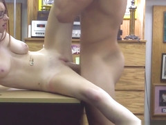 Desperate babe fucks pawnbroker on desk