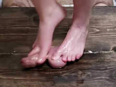 Amateur Girlfriend footjob after ruined orgasm. Ball squeezing cumshot