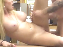 Big boobs Skyla Novea kneels down in the office for blowjob