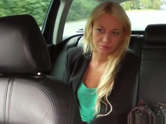 HornyTaxi Blonde must suck cock not to miss her flight