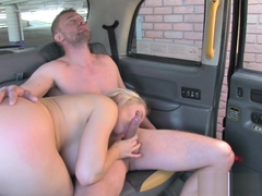 Kinky busty cabbie facialized in backseat