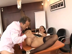 Beautiful secretary in stockings gets nailed on a desk