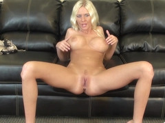 Riley Evans gets herself excited on the couch