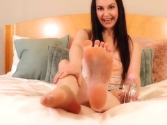 Cutie Brittany Shae Strokes My Cock with Her Feet!
