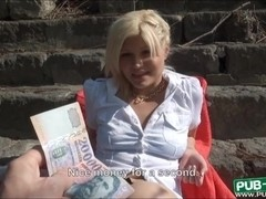 Sunbathing blonde beauty sucks and rides a cock for money