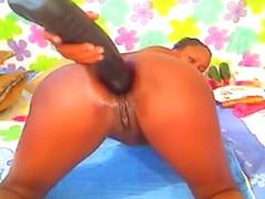 ebony with huge black dildo in ass