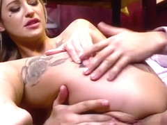 Tattooed pornstar anal fucks in restaurant