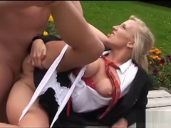 Slutty blonde schoolgirl cheerleader loves to suck and fuck big hard cock