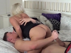 Busty blonde slut Michelle Thorne sucks young studs big hard cock as he licks her wet pussy