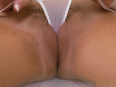 Autumn Westin wet micro thong & wet t-shirt